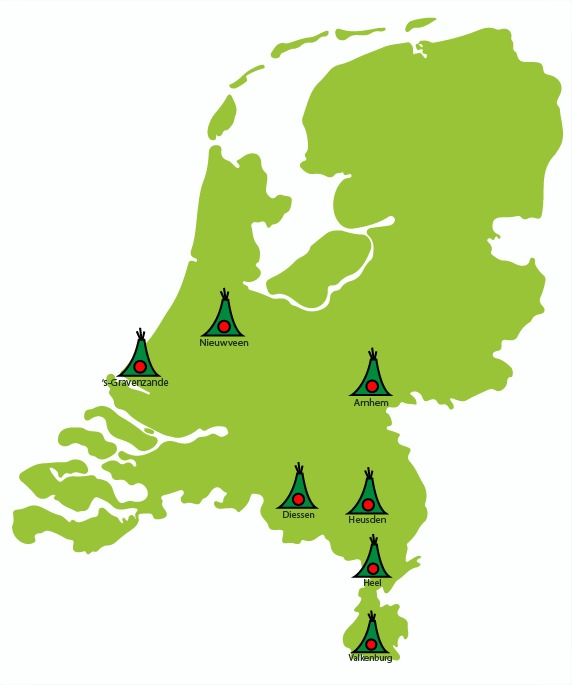 Landkaartje Wigwamlocaties 2020